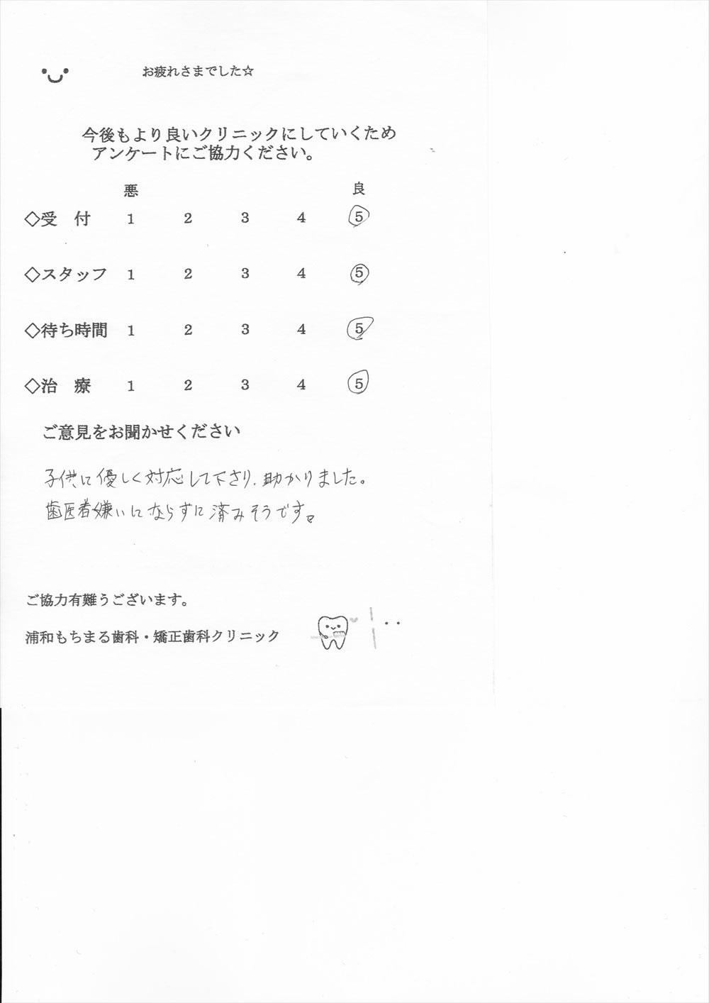 浦和もちまる歯科・矯正歯科の口コミ・評判アンケート11